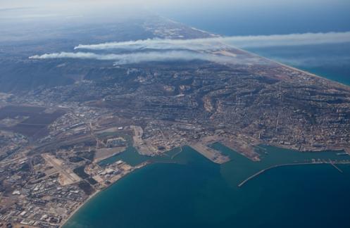 מפרץ חיפה והכרמל במבט מצפון לדרום
